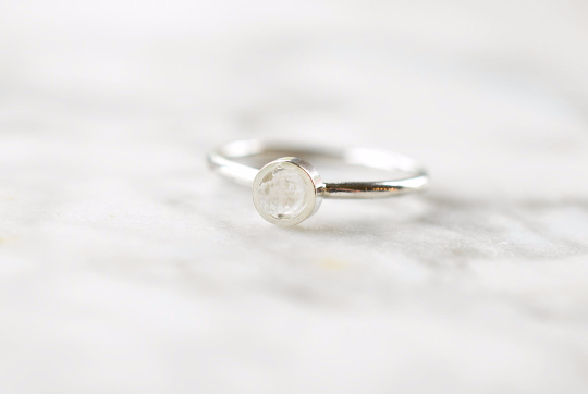 English Calcite Ring in Sterling and Fine Silver