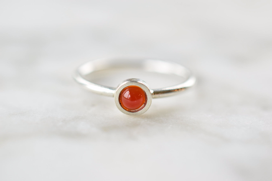 Carnelian Ring in Sterling and Fine Silver