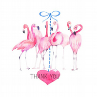 Flamingo Thank You Card with Heart