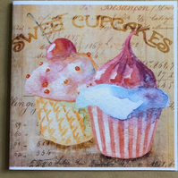 Cherry Cupcakes Greeting Card, blank.