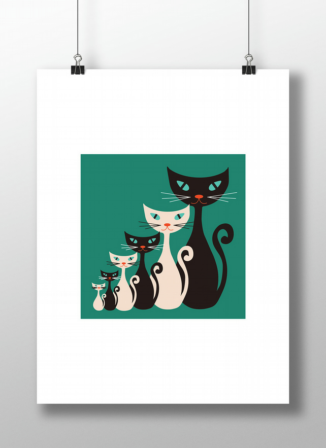 Atomic Kitty Teal Print - Retro Vintage Mid Century Cats Unframed