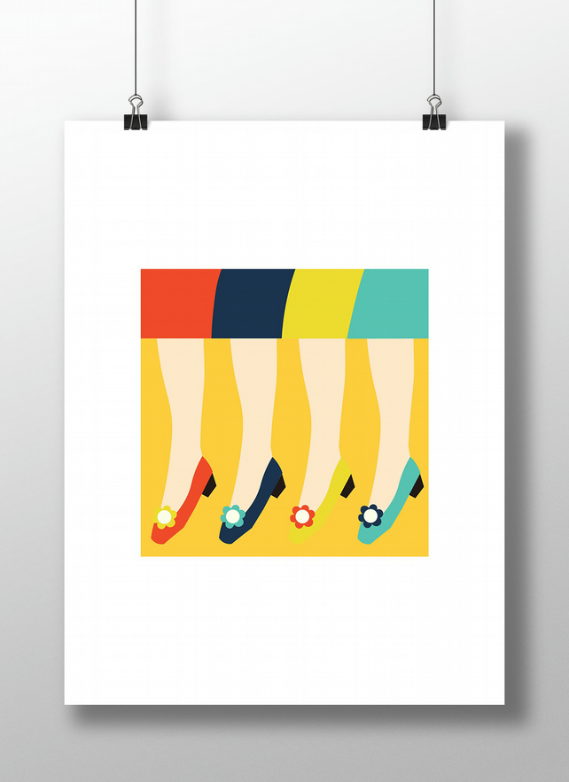Stepping Out Print - Retro Vintage Shoes Unframed