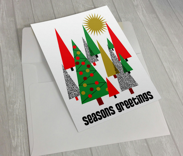 Trees Christmas card - Retro - Mid Century
