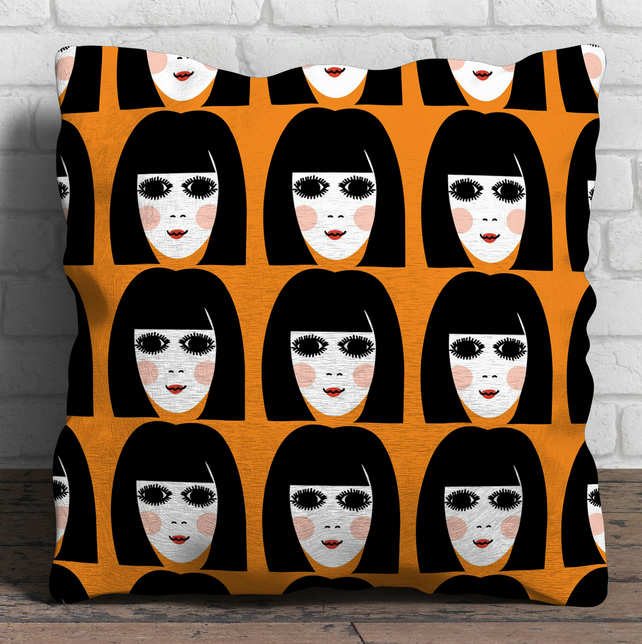 60s Girl linen cushion