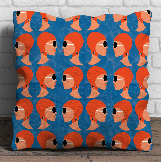 Lido Ladies Orange linen cushion