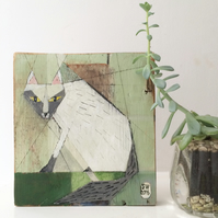 Painting on reclaimed wood of a grey and white cat