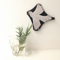 Print on laser cut wood from an original painting of a dove