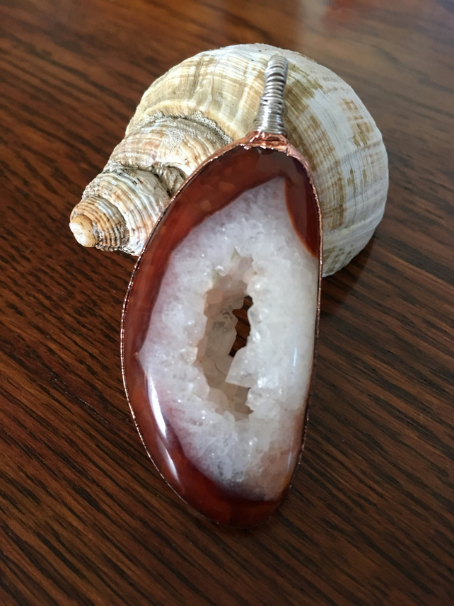 Carnelian geode pendant with copper and silver