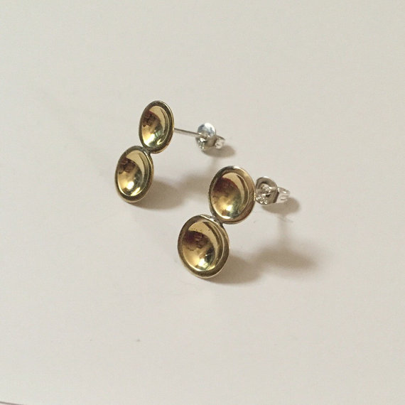 Double dot earrings (highly polished brass)
