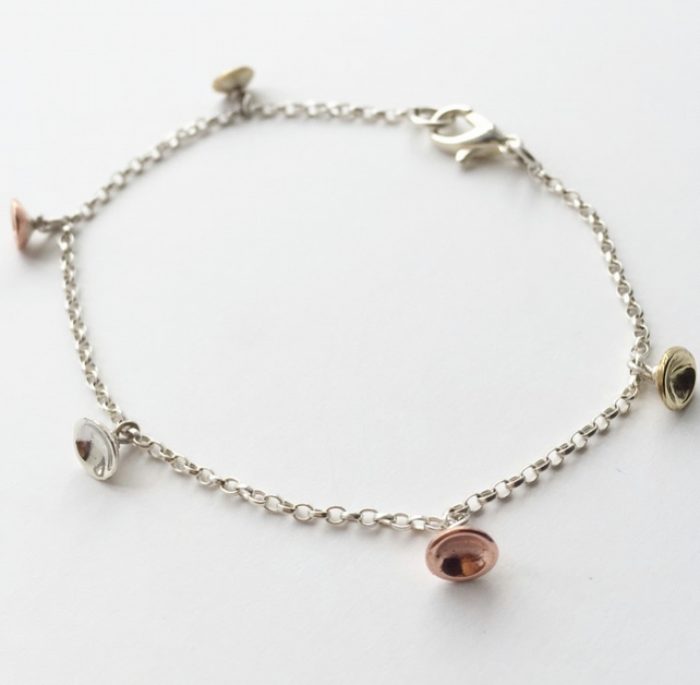 Dot charm bracelet Sterling silver, brass and copper