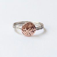 Sterling silver Copper meadow ring