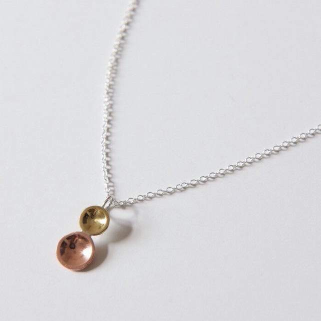 Two tone Double Dot pendant with chain