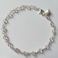 Rose Quartz sterling silver bead bracelet with pearl charm