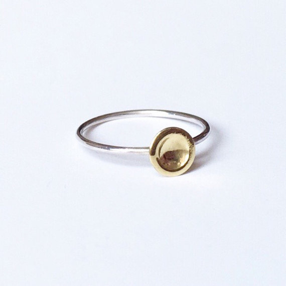 Sterling silver and brass dot ring