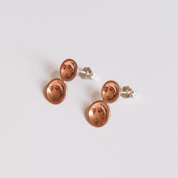 Double dot rose earrings (highly polished copper)