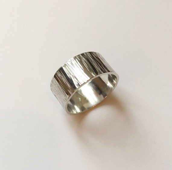 Sterling silver meadow band ring 10mm