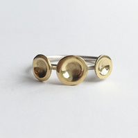 Tri dot sterling silver and brass ring
