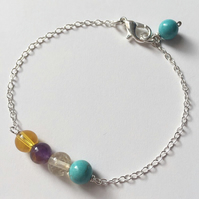 Multicoloured gemstone sterling silver chain bracelet