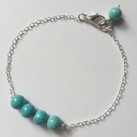 Turquoise gemstone sterling silver chain bracelet