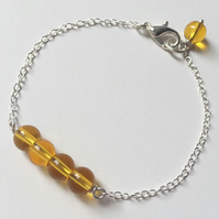 Lemon quartz sterling silver chain bracelet