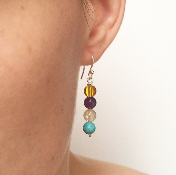Multicoloured gemstone sterling silver earrings