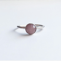 Sterling silver rhodonite dot ring