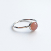 Peach moonstone sterling silver dot ring