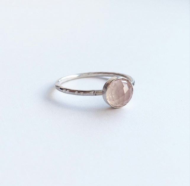 Rose Quartz sterling silver dot stacking ring