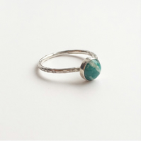Sterling silver Amazonite green dot ring