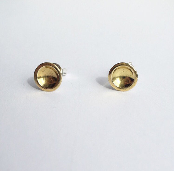 Brass dot stud earrings