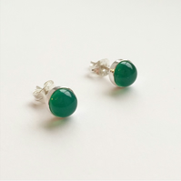 Sterling Silver Green Agate Stud Earrings