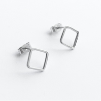 Sterling Silver Linear Diamond Studs