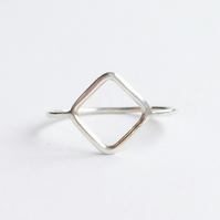 Sterling Silver Linear Diamond Ring