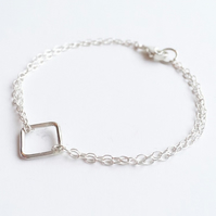 Sterling Silver Linear Diamond Bracelet