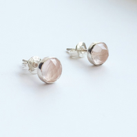 Sterling Silver Rose Quartz Stud Earrings