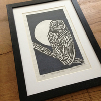 A Limited Edition, Lino Print - Twilight Owl