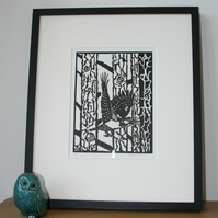 Limited Edition Lino Print - Woodpecker