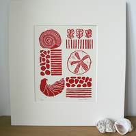 Limited Edition Lino Print - Fossil Collection