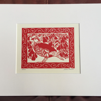 Limited Edition Lino Print - Partridge in a Pear Tree