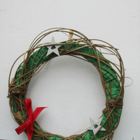 Green Raffia and Twine Wreath