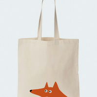 Red fox cotton tote bag