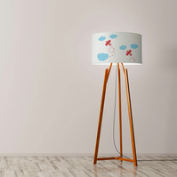 Plane and Clouds Drum Lamp Shade. Diameter 45 cm (17.7 in). Hand-painted