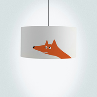 Fox Drum Lampshade. Diameter 45cm (17.7in). Hand painted