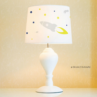 Rocket Lampshade, Diameter 34cm (13.4in). Hand painted