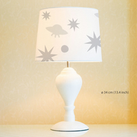 Stars and UFO Lampshade, Diameter 34cm (13.4in). Hand painted