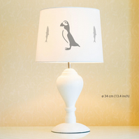 Puffin Lampshade. Diameter 34cm (13.4in). Hand-painted