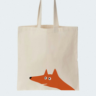 Fox Cotton tote bag, Material shopping bag, Market bag, Hand-painted