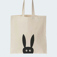 Rabbit Cotton tote bag, Material shopping bag, Market bag, Hand-painted