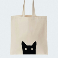 Black Cat Cotton tote bag, Material shopping bag, Market bag, Hand-painted