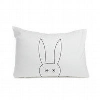 "Rabbit pillowcase 50 x 75cm  (20 x 30""), black colour, hand-painted"